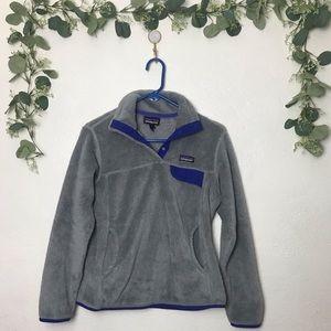 Patagonia Grey & Blue Snap Color Fleece Sweater